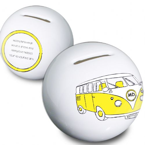 Personalised Yellow Camper Van Money Box